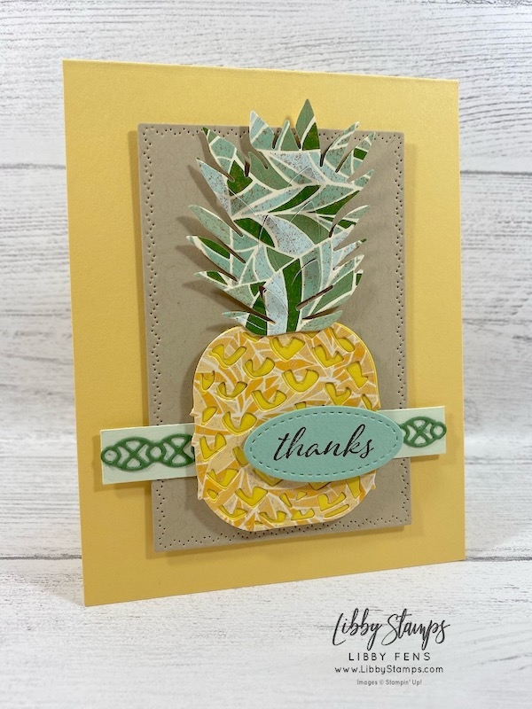 libbystamps, Stampin' Up!, Here's a Card, In the Tropics Dies, Nature's Thoughts Dies, Stitched Shapes Dies, Mosaic Mood DSP, CCMC