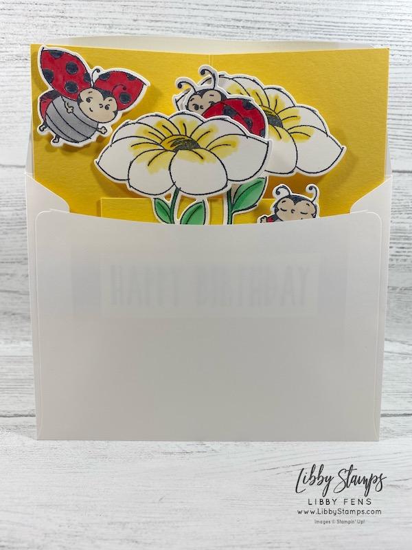libbystamps, Stampin' Up!, Little Ladybug, Perennial Birthday, Ladybug Dies, CCMC, Quarter Sheet Pop Out Card