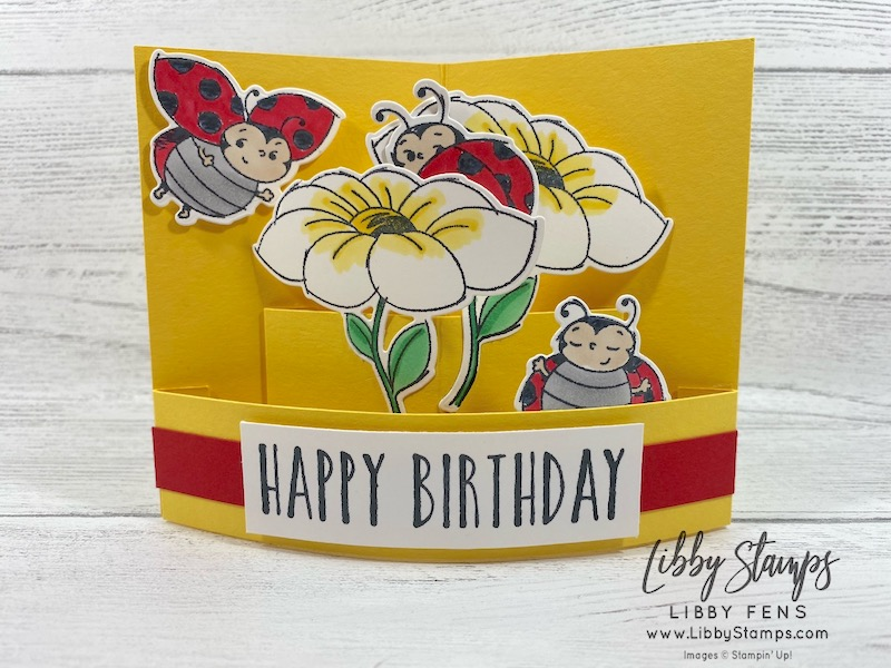 libbystamps, Stampin' Up!, Little Ladybug, Perennial Birthday, Ladybug Dies, CCMC, Quarter Sheet Pop Out Card