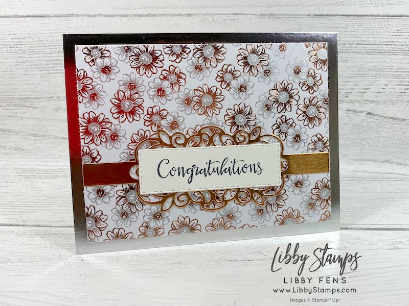 libbystamps, Stampin' Up!, Peaceful Moments, Detailed Bands Dies, Stitched Rectangle Dies, Silver Foil-Edged Card & Envelope, BFBH, wedding, Sale-a-bration