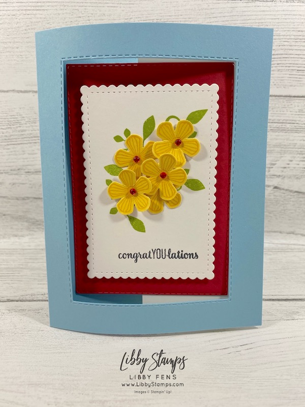 libbystamps, Stampin' Up!, Thoughtful Blooms, Stitched Rectangles Dies, Stitched So Sweetly Dies, Small Bloom Punch, We Create, Sale-a-bration