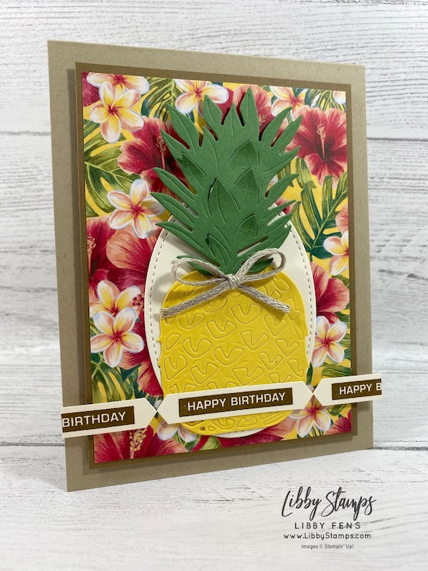 libbystamps, Stampin' Up!, Label Me Bold, In the Tropics Dies, Stitched Shapes Dies, Tropical OasisDSP, Classic LabelPunch, 3/8 Crumb Cake Classic Weave Ribbon, #JOSTTT015