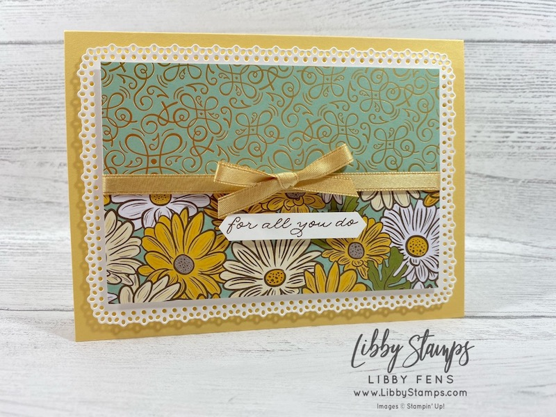 """libbystamps, Stampin' Up!, Ornate Thanks, Ornate Layers Dies, Ornate Garden DSP, Classic LabelPunch, Gold 1/4"""" Shimmer Ribbon, Joy of Sets Blog Hop, #keepstamping"""