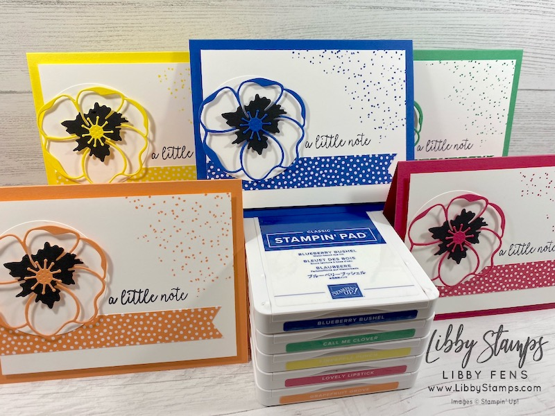 libbystamps, Stampin' Up!, Butterfly Gala, Birthday Backgrounds, Poppy Moments Dies, Lovely Lipstick, Grapefruit Grove, Pineapple Punch, Call Me Clover, Blueberry Bushel, #keepstamping, Fusion Card Challenge