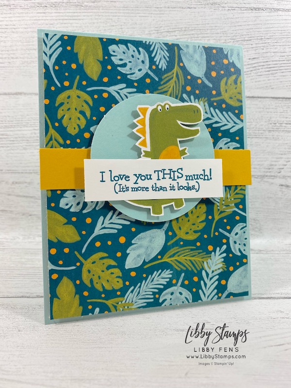 """libbystamps, Stampin' Up!, Dino Days, Dinoroar DSP, 2 1/4"""" Circle, #keepstamping, CAS Colours & Sketches"""