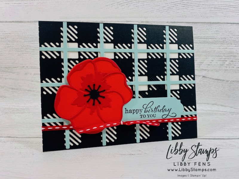 libbystamps, Stampin' Up!, Best Year, Best Plaid Dies, Poppy Moments Dies, Best Year Bundle, Playful Pets Trim Combo Pack, Ink Stamp Share Blog Hop