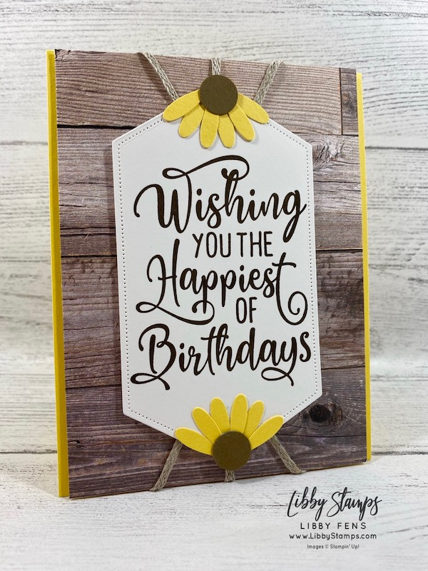 """libbystamps, Stampin' Up!, Happiest of Birthdays, 3/16"""" Braided Linen Trim, Stitched Nested Labels Dies, In Good Taste DSP, Medium Daisy Punch, 1/2"""" Circle Punch, TSOT"""