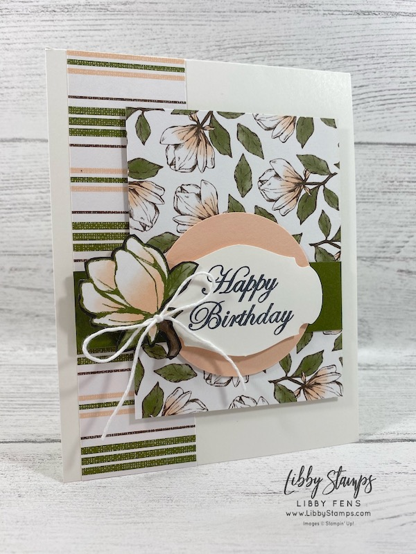 libbystamps, Stampin' Up!, Magnolia Blooms, Magnolia Lane DSP, Story Label Punch