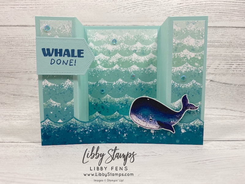 libbystamps, Stampin' Up!, Whale Done, Stitched Nested Labels Dies, Whale of a Time DSP, Artistry Blooms Sequins, CCMC