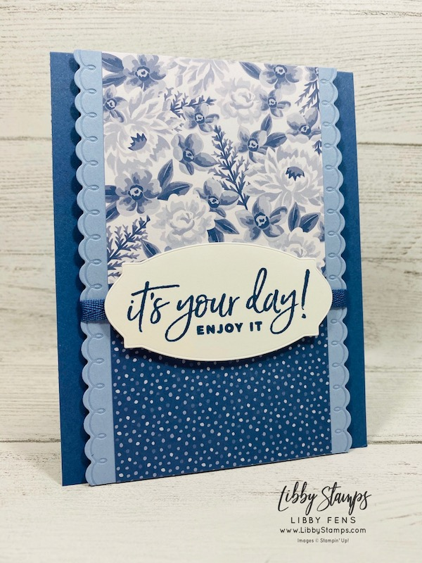 "libbystamps, Stampin' Up!, Happiest of Birthdays, Hippo & Friends Dies, Peony Dies, Flowers For Every Season 6 x 6 DSP, Moonlight Madness 1/4"" 2020-2022 In Color Ribbon, CCMC"
