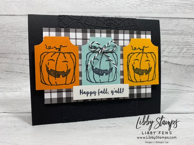 libbystamps, Stampin' Up!, Everything Essential, Banner Year, Cobweb 3d EF, Everything Essential Bundle, Plaid Tidings 6 x 6  DSP, Essential Tag Punch, Playful Pets Trim Combo, Ink Stamp Share Blog Hop