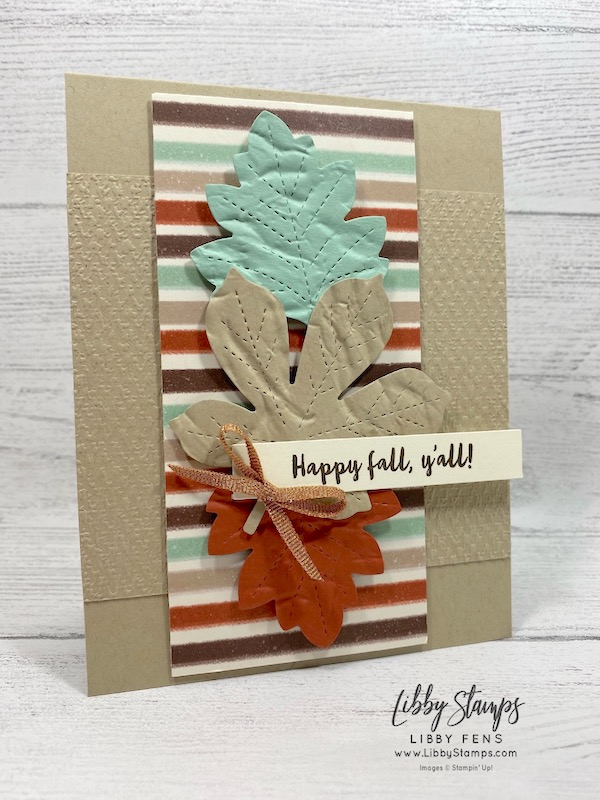libbystamps, Stampin' Up!, Banner Year, Stitched Leaves Dies, Old World Paper 3D EF, Tasteful Textile 3d EF, Gilded Autumn Specialty DSP, Basket Weave & Metallic Ribbon Combo, CCMC, Create with Connie and Mary