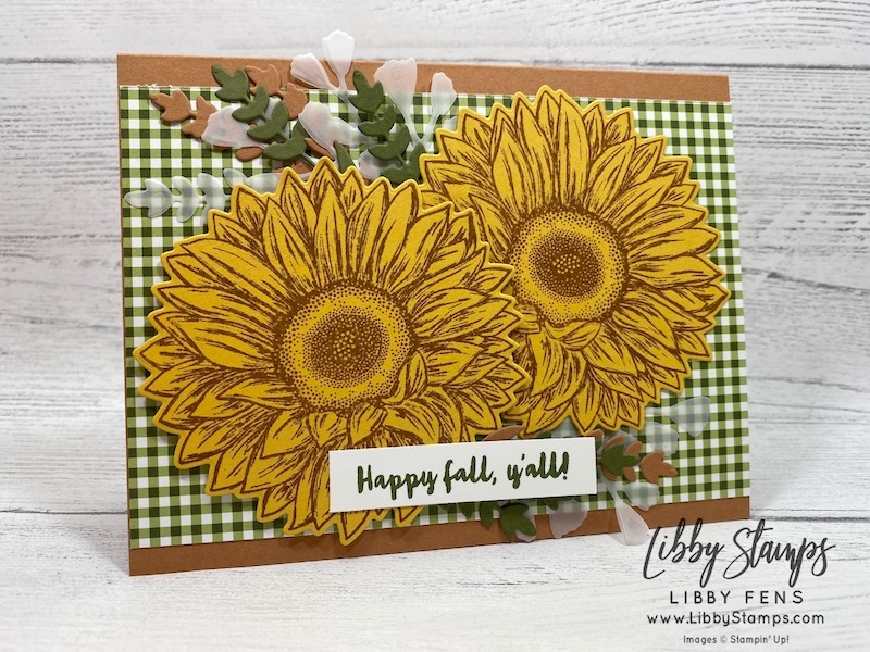 libbystamps, Stampin' Up!, Celebrate Sunflowers, Celebrate Sunflowers Bundle, Banner Year, Heartwarming Hugs DSP, Forever Fern Dies, CCMC, Create with Connie and Mary