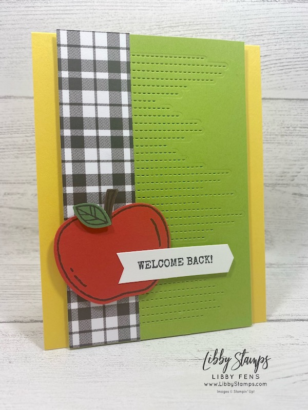 libbystamps, Stampin' Up!, Harvest Hellos, Stitched Leaves Dies, Plaid Tidings 6 x 6DSP, Apple Builder Punch, Banners Pick A Punch, #FF067, Festive Friday