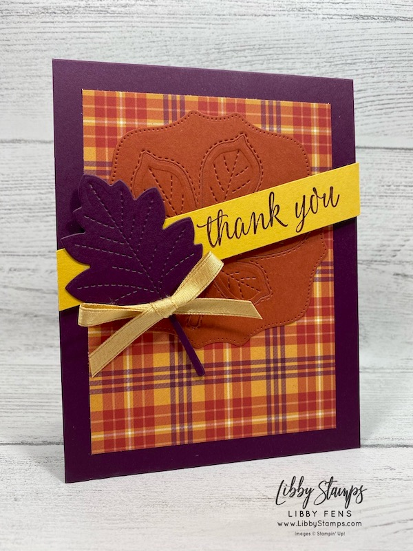 """libbystamps, Stampin' Up!, Love of Leaves, Hippo & Friends Dies, Stitched Leaves Dies, Love of Leaves Bundle, Plaid Tidings 6 x 6DSP, Gold 1/4"""" Shimmer Ribbon, TSOT, Try Stampin' on Tuesday"""