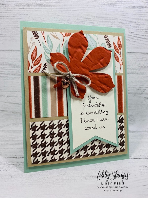 "libbystamps, Stampin' Up!, Love of Leaves, Love of Leaves Bundle, Stitched Leaves Dies, Old World Paper 3D EF, Gilded Autumn Specialty DSP, Tailored Tag Punch, Acorn Trinkets, 3/16"" Braided Linen Trim, CCMC, Create with Connie and Mary"