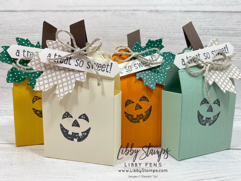 "libbystamps, Stampin' Up!, Harvest Hellos, Banner Year, Little Treat Box Dies, Gathered Leaves Dies, Classic Christmas 6 x 6  DSP, Classic Label Punch, Simply Scored, 3/16"" Braided Linen Trim, CCMC, Create with Connie and Mary"