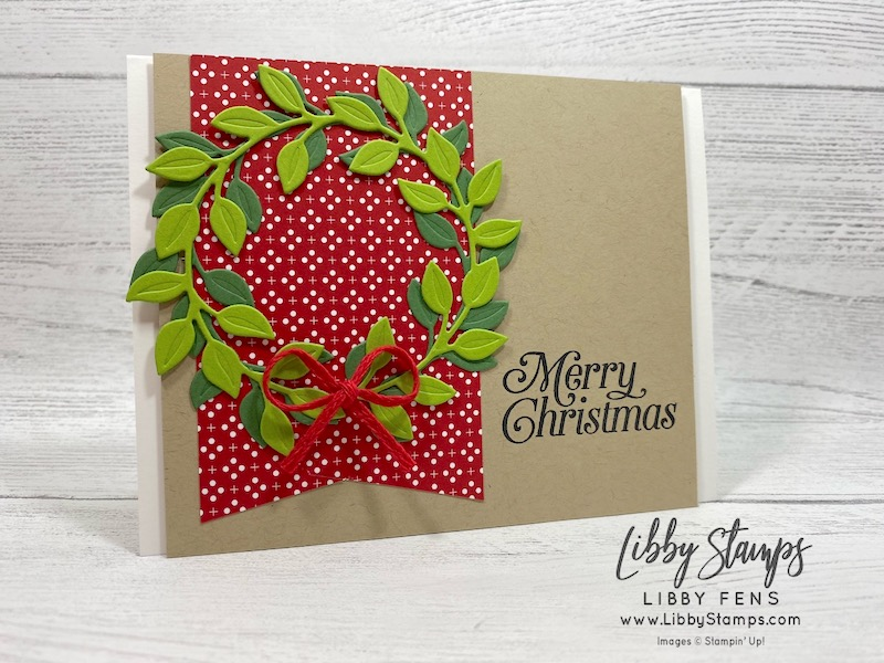 "libbystamps, Stampin' Up!, Perfectly Plaid, Wreath Builder Dies, Heartwarming Hugs DSP, Stamparatus, Real Red 3/16"" Braided Linen Trim, Try Stampin' on Tuesday, #TSOT482"