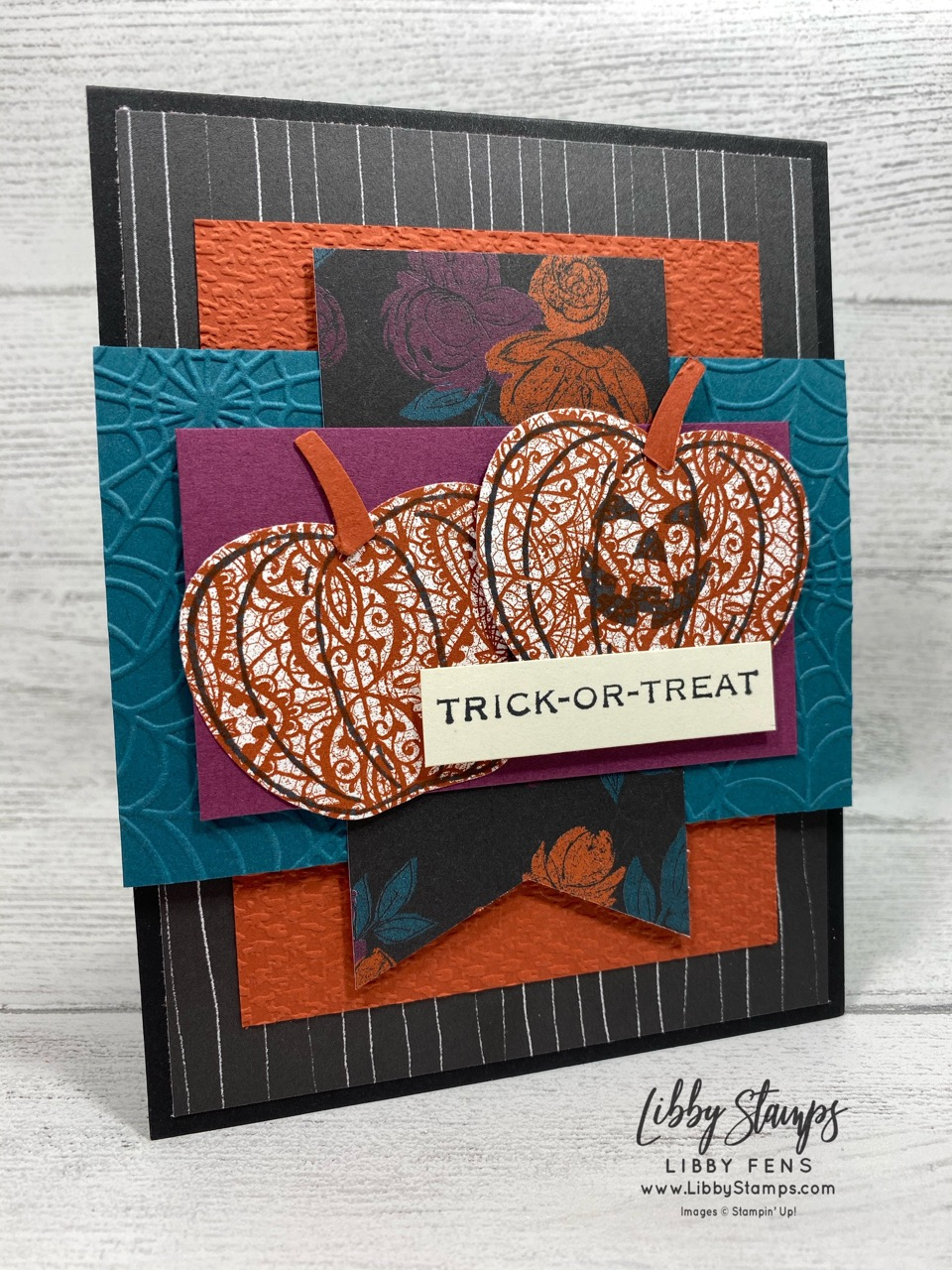 libbystamps, Stampin' Up!, Apple Builder Punch, Cobwebs 3D EF, Hallows Night Magic, Harvest Hellos, Magic in This Night DSP, Tailored Tag Punch, Tasteful Textile EF, CCMC, Create with Connie and Mary