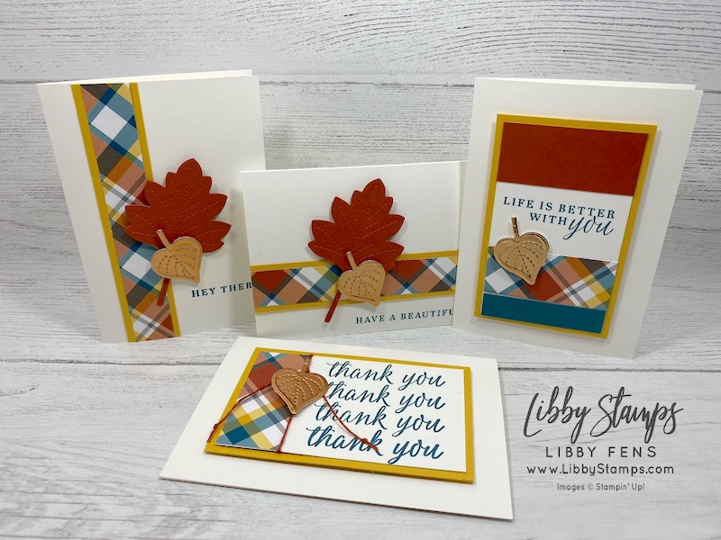 libbystamps, Stampin' Up!, Beautiful Autumn, Stitched Leaves Dies, Stitched Shaped Dies, Plaid Tidings 6 x 6DSP, Stamparatus, Whisper White Note Cards & Envelopes, BFBH, Blogging Friends Blog Hop