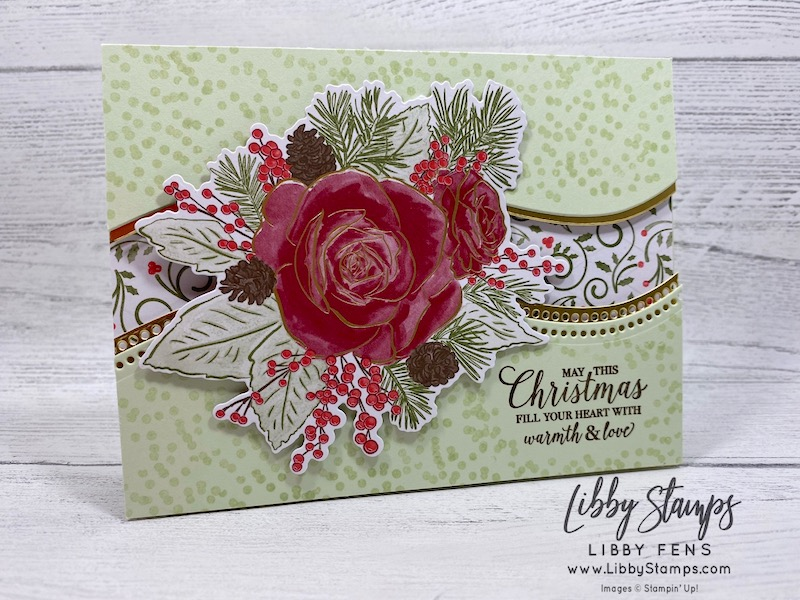 libbystamps, Stampin' Up!, Christmas Rose, Curvy Dies, Rose Dies, Christmastime is Here DSP, CCMC, Create with Connie and Mary