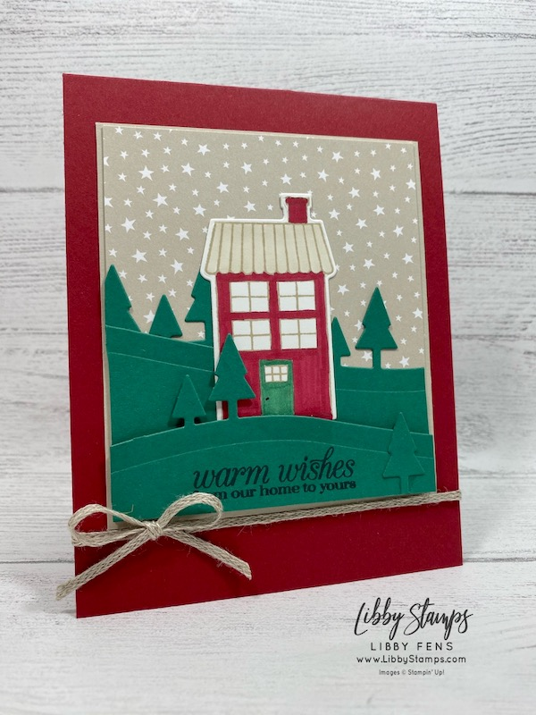 "libbystamps, Stampin' Up!, 3/16"" Braided Linen Trim, Coming Home, Poinsettia Petals, Home Together Dies, Coming Home Bundle, Classic Christmas 6 x 6  DSP, CCMC, Create with Connie and Mary"