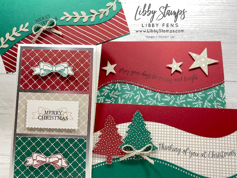 "libbystamps, Stampin' Up!, Curvy Christmas, Curvy Dies, Stitched So Sweetly Dies, Stitched Stars Dies, Quite Curvy Variety Bundle, Classic Christmas 6 x 6  DSP, Pine Tree Punch, 3/16"" Braided Linen Trim, We Create, We Create Blog Hop, mini slim card"