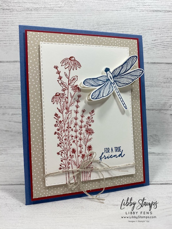 "libbystamps, Stampin' Up!, Dragonfly Garden, Rectangle Stitched Dies, Dragonfly Garden Bundle, Classic Christmas 6"" x 6"" DSP, Dragonflies Punch, Linen Thread, Ink Stamp Share Blog Hop"