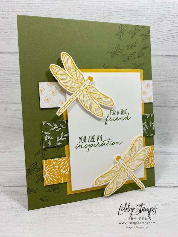 "libbystamps, Stampin' Up!, Dragonfly Garden, Dandy Garden 6"" x 6"" DSP, Dragonflies Punch, Mossy Meadow 3/16"" Braided Linen Trim, #OnStageatHome"