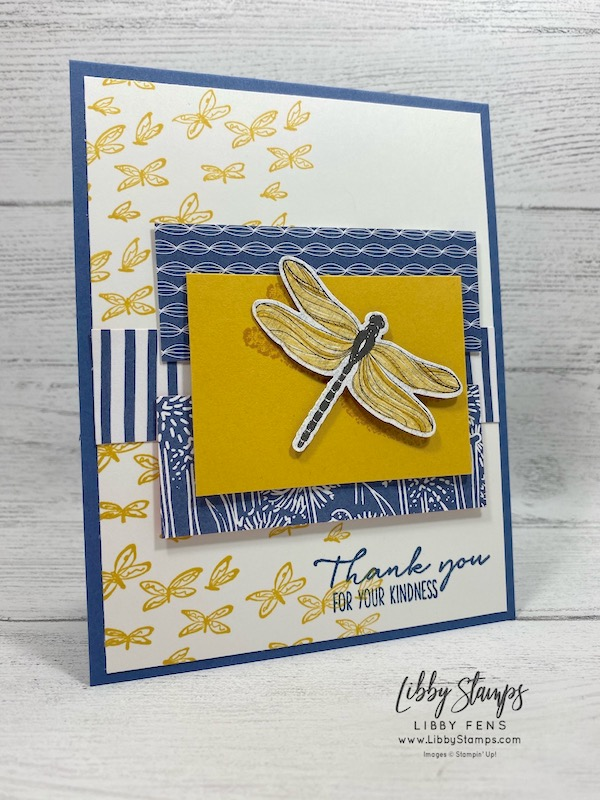 """libbystamps, Stampin' Up!, Dragonfly Garden, Dandy Garden 6"""" x 6"""" DSP, Dragonflies Punch, Mossy Meadow 3/16"""" Braided Linen Trim, #OnStageatHome"""