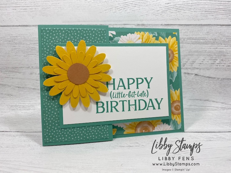 libbystamps, Stampin' Up!, Flowers For Every Season DSP, Happiest Of Birthdays, Poinsettia Petals Bundle, Playful Pets DSP, Pampered Pets Bundle, fun folds