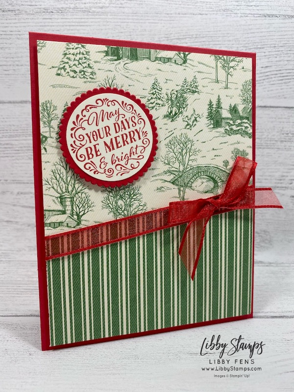 "libbystamps, Stampin' Up!, Wrapped In Christmas, Layering Circles Dies, Toile Tidings DSP, 1 1/2"" Circle Punch, Real Red 3/8"" Sheer Ribbon, Try Stampin' on Tuesday, TSOT484"
