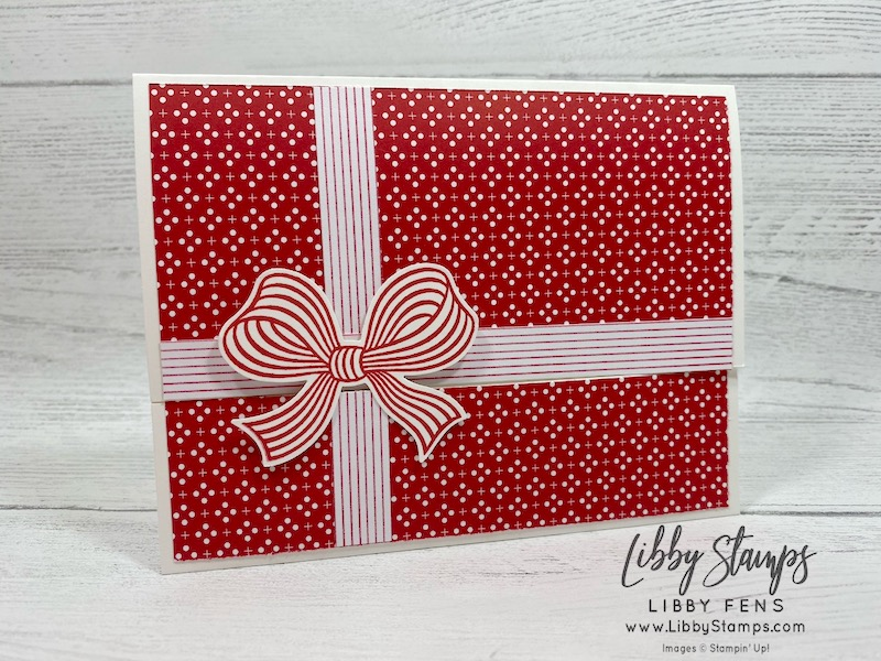 libbystamps, Stampin' Up!, pop up gift card, Gift Wrapped, Gift Wrapped Bundle, Heartwarming Hugs DSP, Playful Pets DSP, Gift Bow Builder Punch, CCMC, Create with Connie and Mary