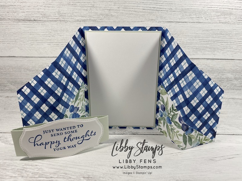 libbystamps, Stampin' Up!, Happy Thoughts, Tasteful Labels Dies, Berry Blessings Bundle, Berry Delightful DSP, Fun Fold, Double Gate Fold Card, SAB, Sale-A-Bration, Sale-a-bration 2021, Saleabration, Saleabration 2021