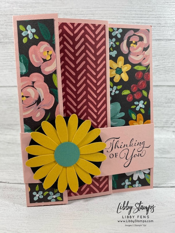 libbystamps, Stampin' Up!, Accordion Fold, Fun Fold, Happy Thoughts, Flower & Field DSP, Daisy Punch, Sale-A-Bration, Saleabration, Saleabration 2021, SAB, Sale-a-bration 2021