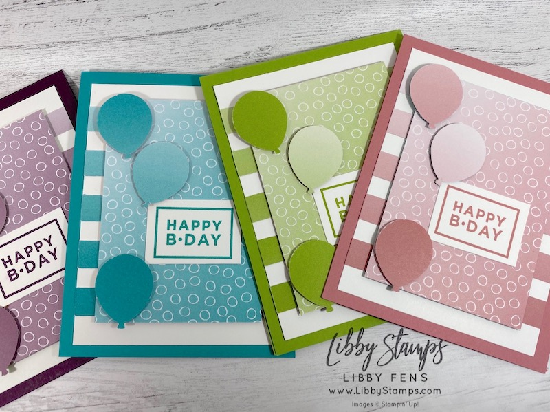 libbystamps, Stampin' Up!, Happiest of Birthdays, Oh So Ombre DSP, Balloon Bouquet Punch, #caseingtuesday285, Saleabration 2021, SAB, Sale-a-Bration 2021, birthday cards, JJ Mini