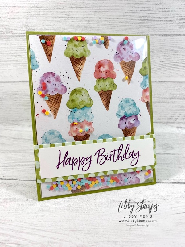 libbystamps, Stampin' Up!, Sweet Ice Cream, Sweet Ice Cream Bundle, Ice Cream Corner Suite, Ice Cream Corner DSP, Ice Cream Cone Builder Punch, Clear Medium Envelopes, Ice Cream Corner Sprinkles