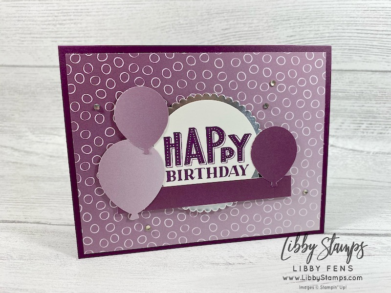 """libbystamps, Stampin' Up!, You Are Amazing, Layering Circle Dies, Oh So Ombre DSP, Balloon Bouquet Punch, 2"""" Circle Punch, Basic Rhinestone Jewels, SAB, Saleabration, Saleabration 2021, Ink Stamp Share Blog Hop, birthday card"""