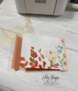 """libbystamps, Stampin' Up!, Art Gallery, Fine Art Floral DSP, Golden Garden Designer Specialty Acetate, Gold 1/4"""" Shimmer Ribbon, Double Flap Fold, CCMC, Create with Connie and Mary"""