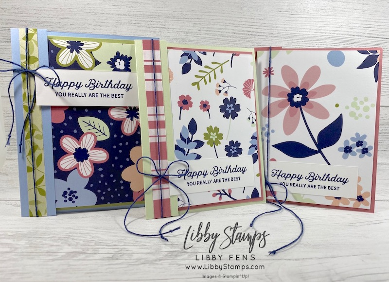 libbystamps, Stampin' Up!, Fun Fold Fridays, Fun Folds,In Bloom, Paper Blooms DSP, Well Suited Twine Pack, SAB, Sale-A-Bration, Sale-a-bration 2021, Saleabration, Saleabration 2021