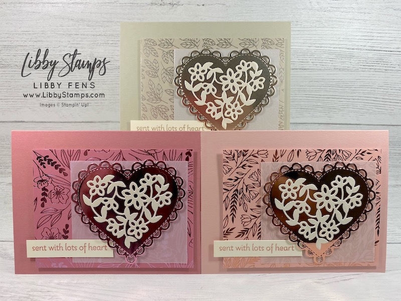 libbystamps, Stampin' Up, Lots of Hearts, Lots of Hearts Bundle, Many Hearts Dies, Pearlescent Specialty Paper, Love You Always Foil Sheets, Love You Always DSP, #casingtuesday289, Casing Tuesday Sketches