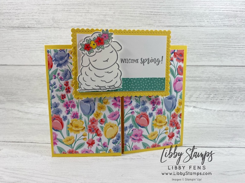 libbystamps, Stampin' Up!, Springtime Joy, Stitched So Sweetly Dies, Flowers For Every Season DSP, Double Oval Punch, Stampin' Blends, Fun Fold, Slide and Lock Card