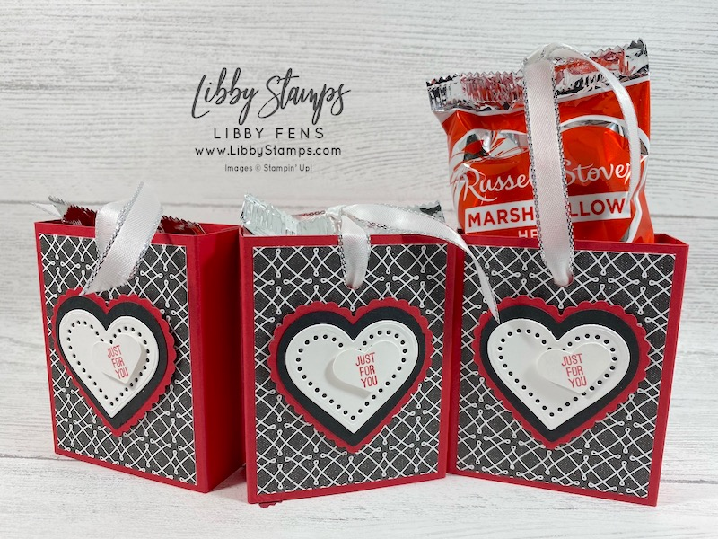 """libbystamps, Stampin' Up!, Kangaroo & Company, Many Hearts Dies, True Love DSP, Heart Punch Pack, Kiss Punch, Silver 3/8"""" Metallic Edge Ribbon, CCMC, Create with Connie and Mary, Valentine's Day"""