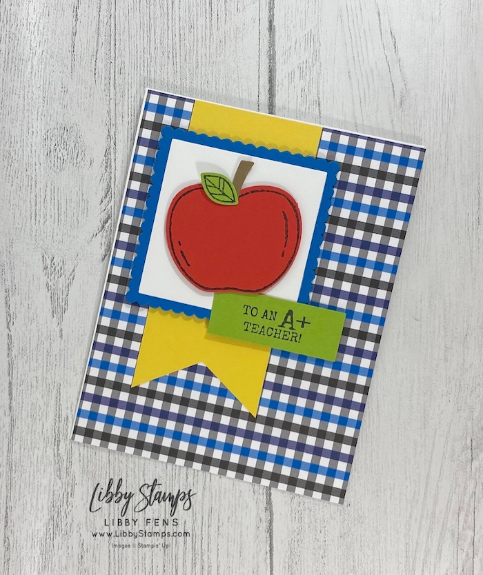 libbystamps, Stampin' Up!, Harvest Hellos, Layering Squares Dies, Well Suited DSP, Apple Builder Punch, Triple Banner Punch, CASE-ing Tuesday, #casingtuesday297, teacher gifts