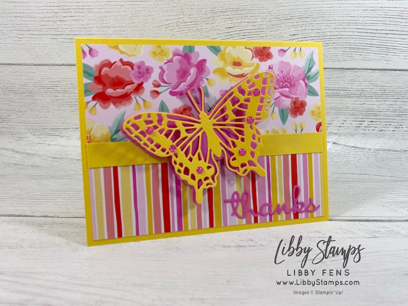 libbystamps, Stampin' Up!, Brilliant Wings Dies, Well Written Dies, Flowers For Every Season DSP, 2020 - 2022 In Color Enamel Dots, AHSC, Atlantic Hearts Sketch Challenge