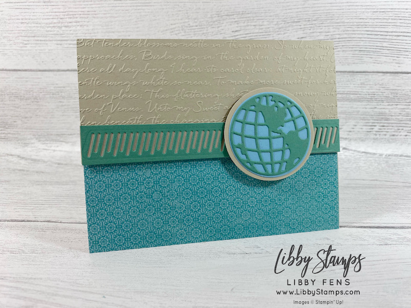 """libbystamps, Stampin' Up!, Beautiful World, World Map Dies, Scripty 3D EF, Butterfly Bijou DSP, 2 1/4"""" Circle Punch, AHSC, Atlantic Hearts Sketch Challenge"""
