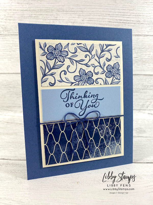 "libbystamps, Stampin' Up!, Happy Thoughts, Boho Indigo Product Medley, Well Suited Twine Combo Pack, CCM, Create with Connie and Mary, Create with Connie and Mary Saturday Blog Hop, 6"" x 6"" One Sheet Wonder"