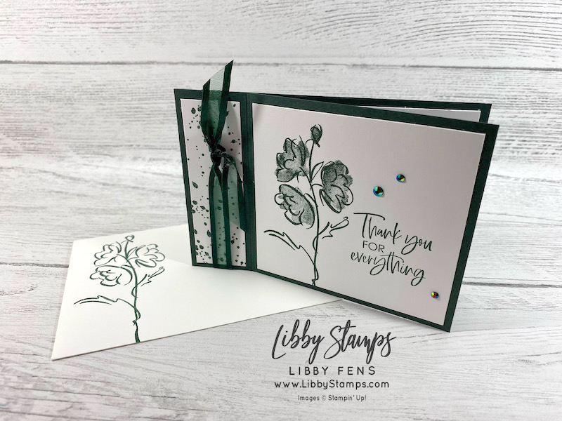 libbystamps, Stampin' Up!, Color & Contour, Evening Evergreen, Ink Stamp Share Blog Hop, Book Fold, 2021-2023 In Color Jewels
