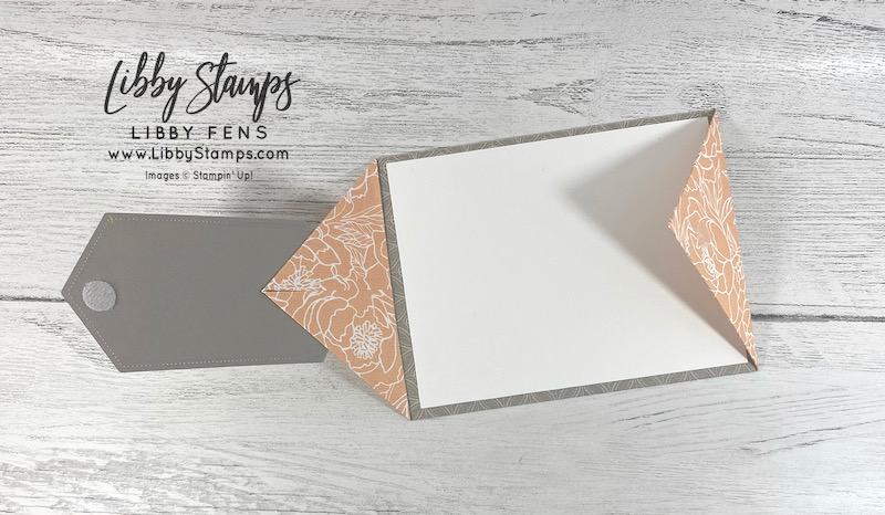 libbystamps, Stampin' Up!, Floral Essence, Stitched Nested Labels Dies, Peony Garden DSP, Double Point Card, Fun Fold, Fun Fold Fridays