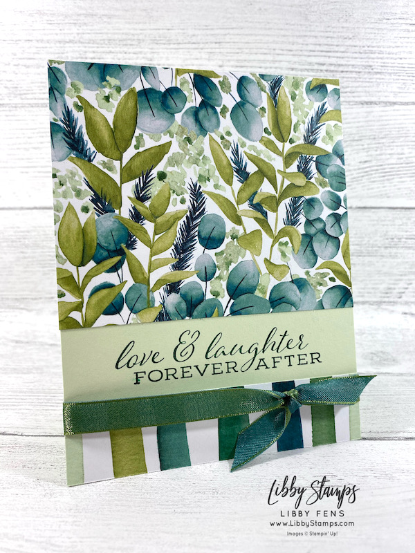 libbystamps, Stampin' Up!, Forever Fern, Forever Greenery DSP, Old Olive / Pretty Peacock Reversible Ribbon, CCM, Create with Connie and Mary, Create with Connie and Mary Saturday Blog Hop